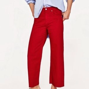 ZARA raw hem wide leg pants